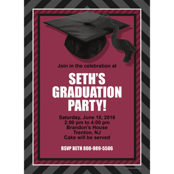Burgundy Caps Off Graduation Personalized Invitation (Each)