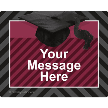 Burgundy Caps Off Graduation Personalized Rectangular Stickers (Sheet of 15)