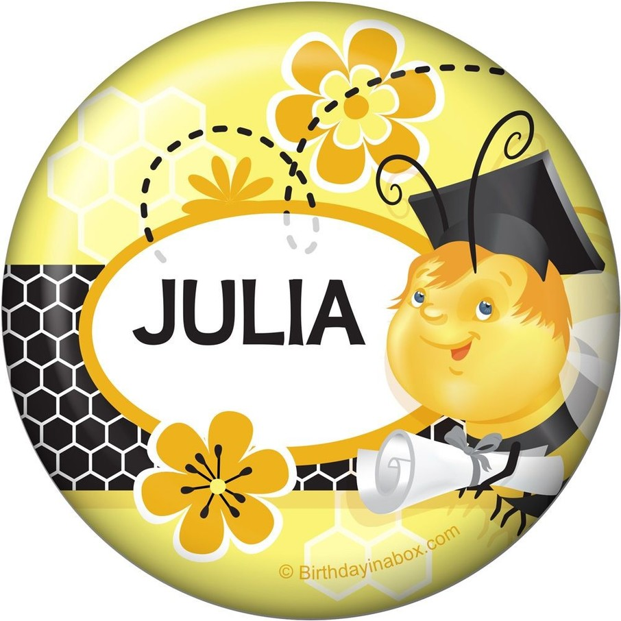 View larger image of Busy Bee Grad Personalized Button (Each)