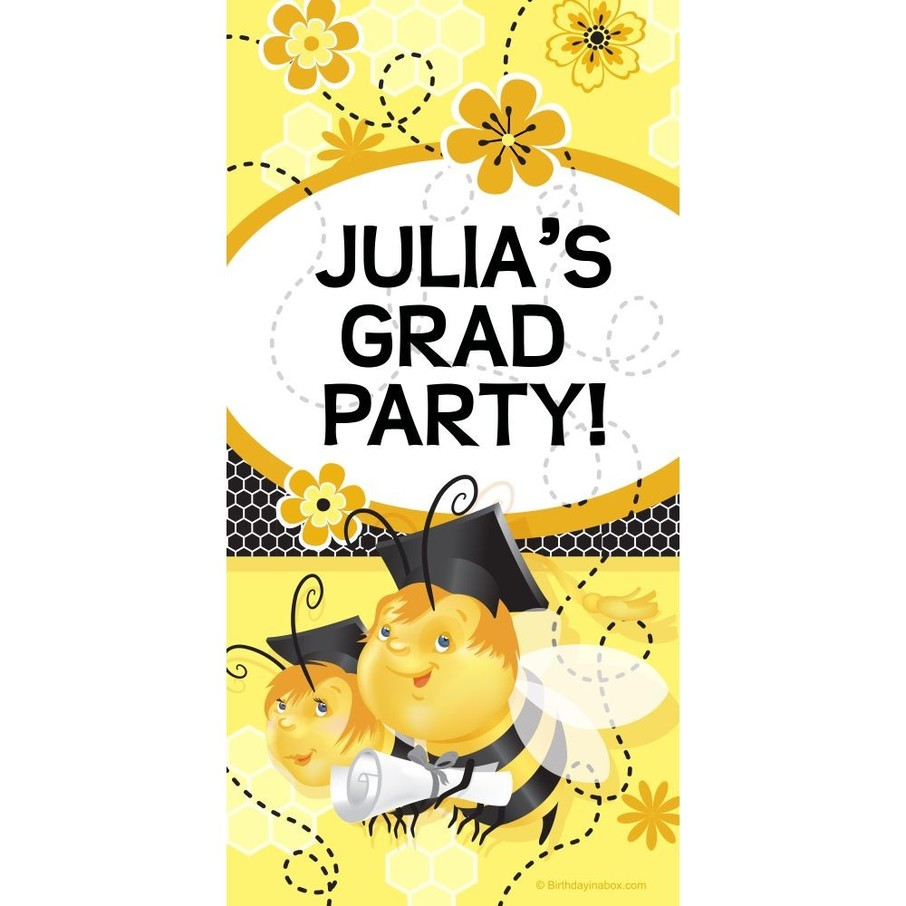 View larger image of Busy Bee Grad Personalized Giant Banner 30x60 (Each)