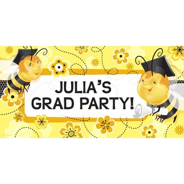 Busy Bee Grad Personalized Giant Banner 60x30 (Each)
