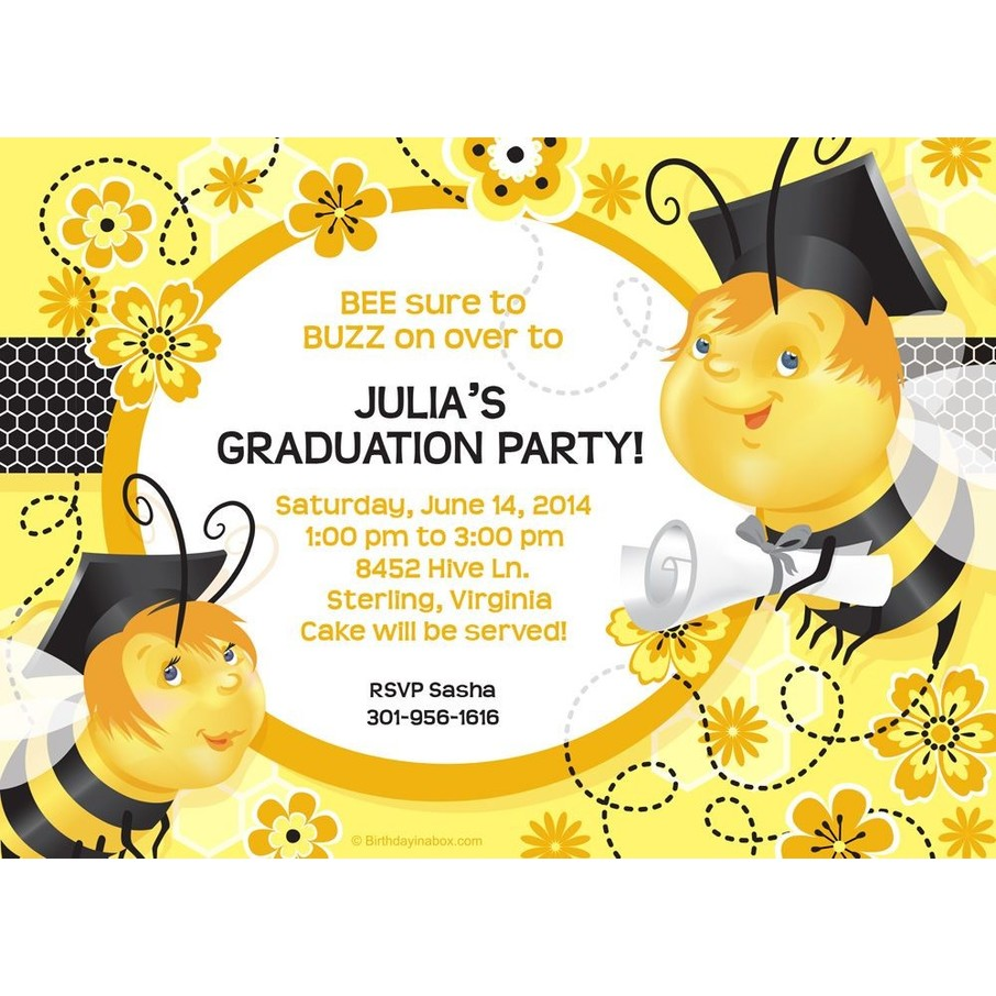 View larger image of Busy Bee Grad Personalized Invitation (Each)