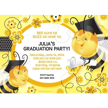 Busy Bee Grad Personalized Invitation (Each)
