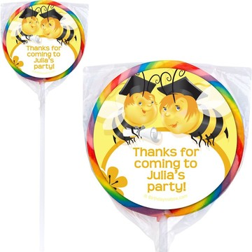 Busy Bee Grad Personalized Lollipops (12 Pack)