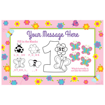 Butterfly 1st Birthday Personalized Activity Mat (Each)