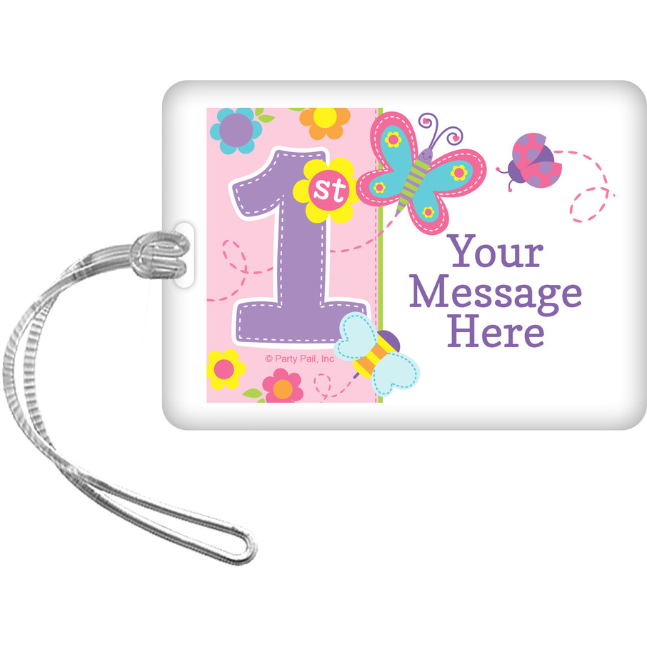 View larger image of Butterfly 1st Birthday Personalized Bag Tag (Each)