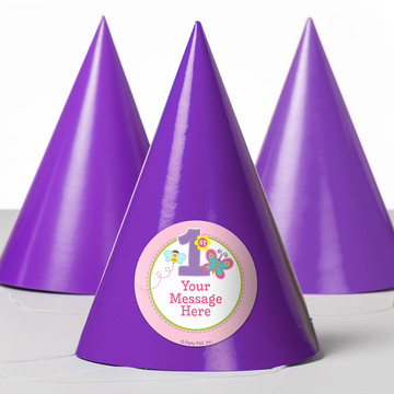 Butterfly 1st Birthday Personalized Party Hats (8 Count)
