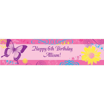 Butterfly Birthday Personalized Banner (each)