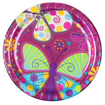 "Butterfly Sparkle 9"" Metallic Luncheon Plates (8 Pack)"