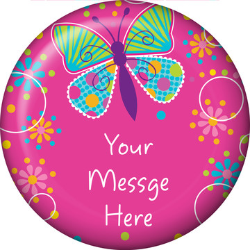 Butterfly Sparkle Personalized Button (Each)