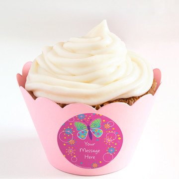 Butterfly Sparkle Personalized Cupcake Wrappers (Set of 24)