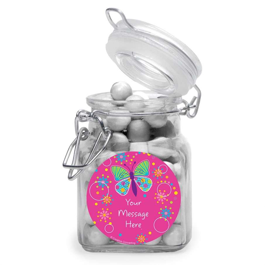 View larger image of Butterfly Sparkle Personalized Glass Apothecary Jars (12 Count)