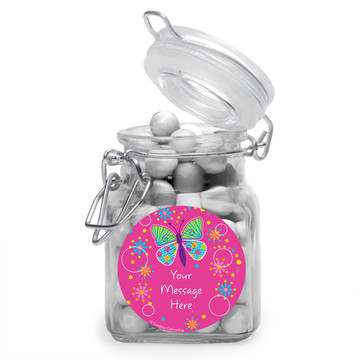 Butterfly Sparkle Personalized Glass Apothecary Jars (12 Count)