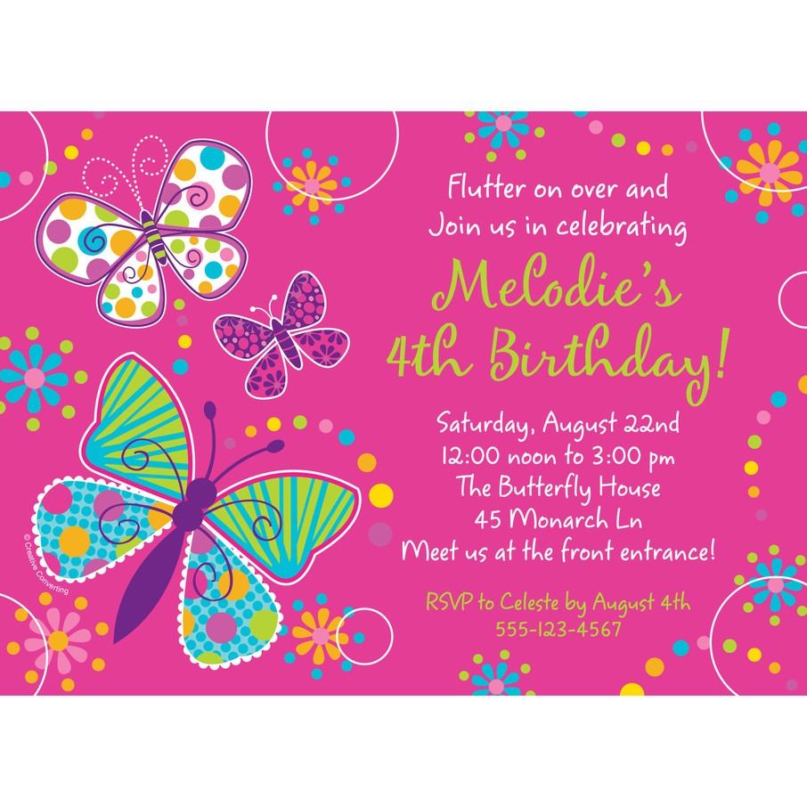 View larger image of Butterfly Sparkle Personalized Invitation (Each)