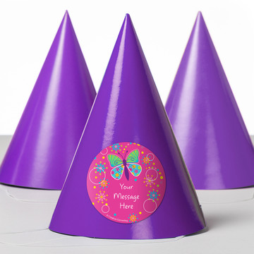 Butterfly Sparkle Personalized Party Hats (8 Count)