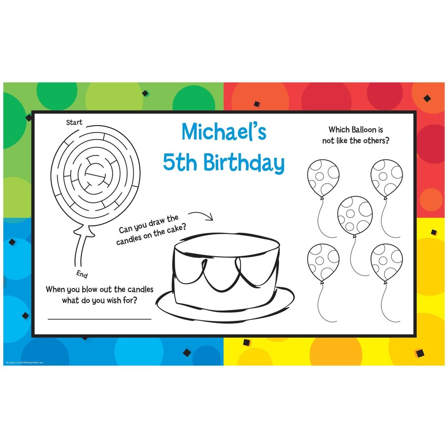 View larger image of Cake Celebration Personalized Activity Mats (8-Pack)