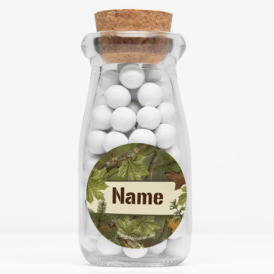 """View larger image of Camo Personalized 4"""" Glass Milk Jars (Set of 12)"""