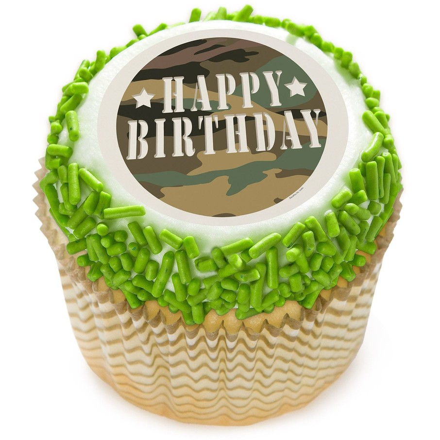 """View larger image of Camouflage 2"""" Edible Cupcake Topper (12 Images)"""