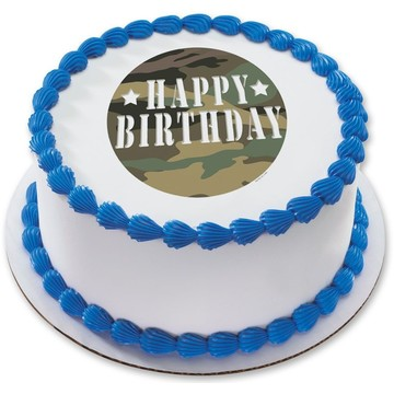 "Camouflage 7.5"" Round Edible Cake Topper (Each)"