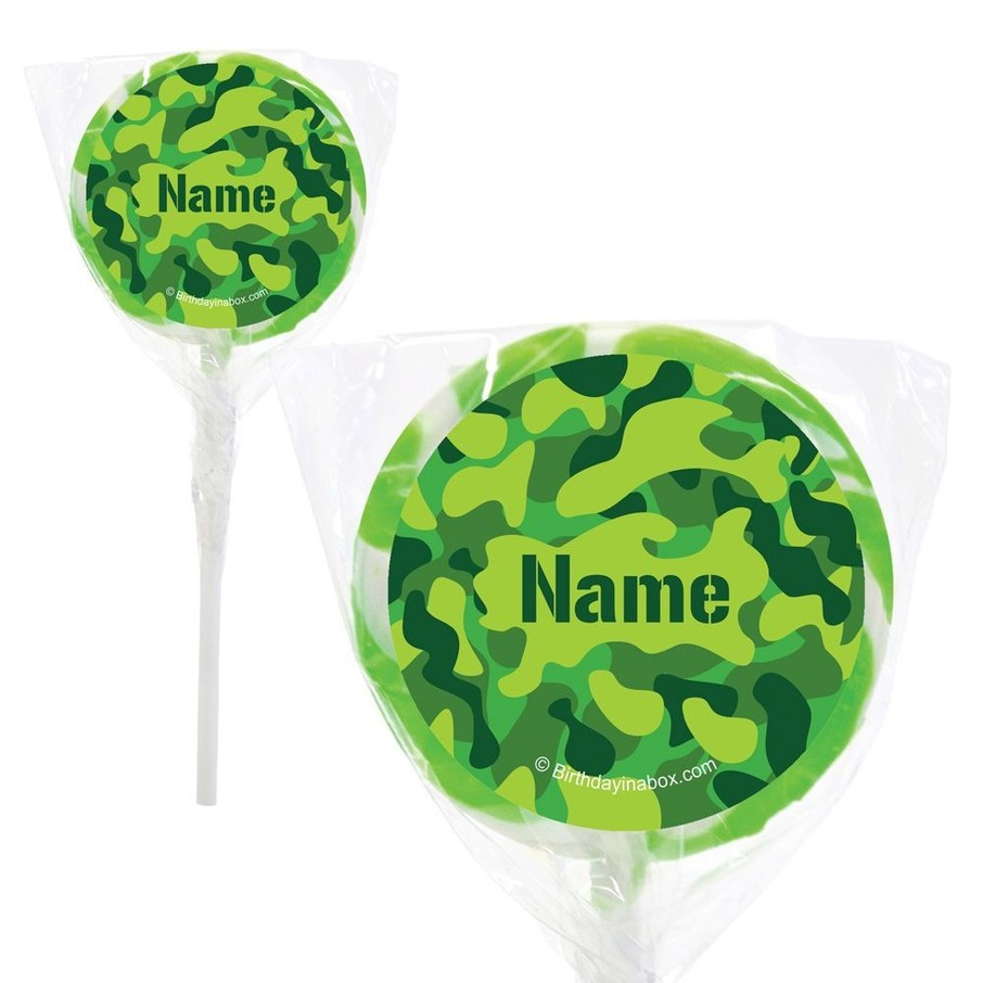 """View larger image of Camouflage Personalized 2"""" Lollipops (20 Pack)"""