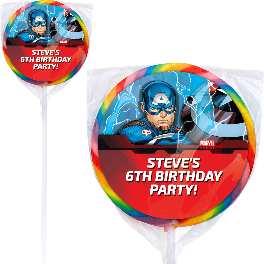 """View larger image of Captain America Personalized 3"""" Lollipops (12 Pack)"""