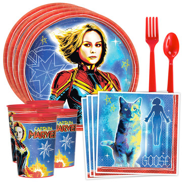 Captain Marvel Standard Tableware Kit with Favor Cup (Serves 8)