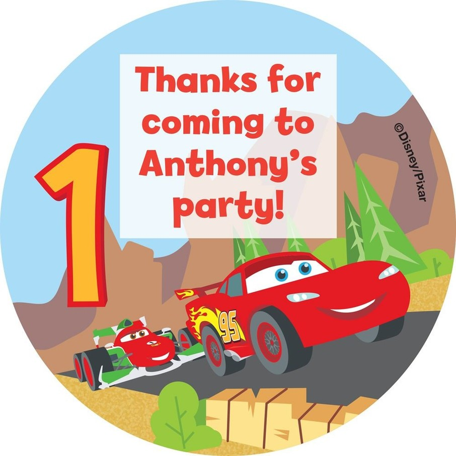 View larger image of Cars 1st Birthday Personalized Stickers (Sheet of 12)