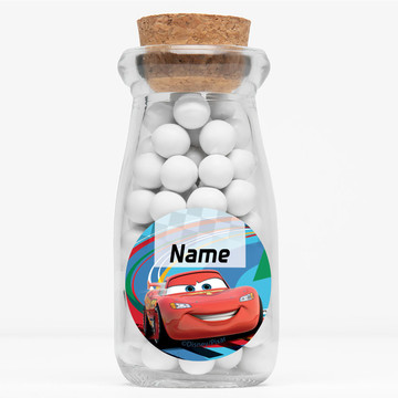 "Cars 2 Personalized 4"" Glass Milk Jars (Set of 12)"