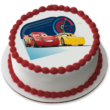 "Cars 7.5"" Round Edible Cake Topper (Each)"