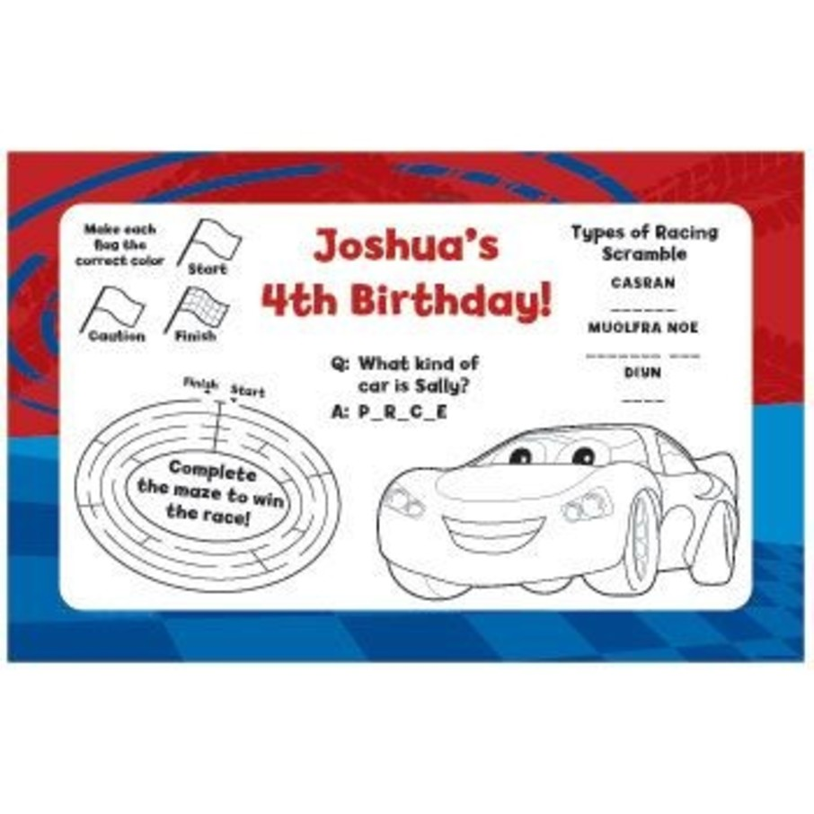 View larger image of Cars Too Personalized Activity Mats (8-pack)