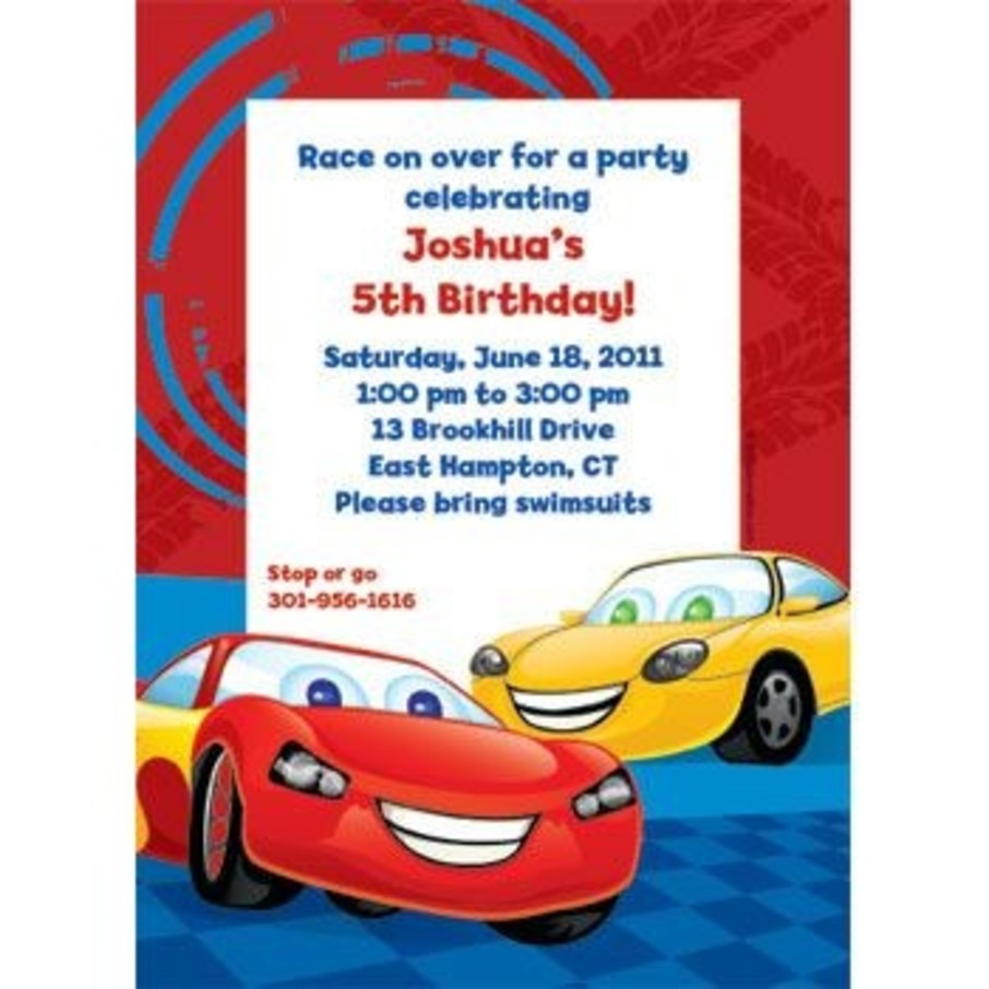View larger image of Cars Too Personalized Invitation (each)