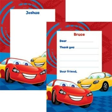 Cars Too Personalized Thank You Note (each)