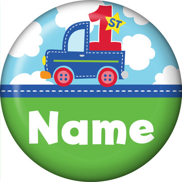 Cars, Trucks, & Trains Personalized Mini Button (Each)
