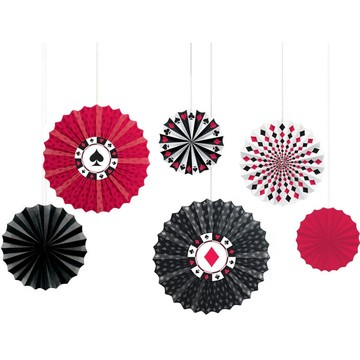 Casino Printed Paper Fan Decorations (Each)