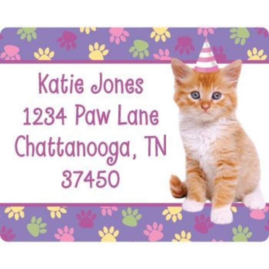 View larger image of Cat Party Personalized Address Labels (sheet of 15)