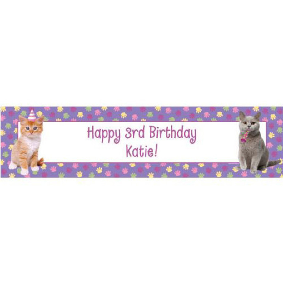 View larger image of Cat Party Personalized Banner (Each)