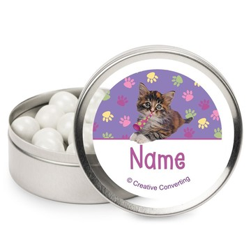 Cat Party Personalized Candy Tins (12 Pack)
