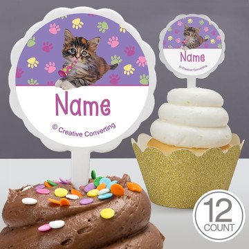 Cat Party Personalized Cupcake Picks (12 Count)