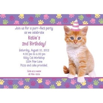 Cat Party Personalized Invitation (each)