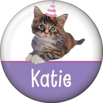 Cat Party Personalized Mini Button (each)