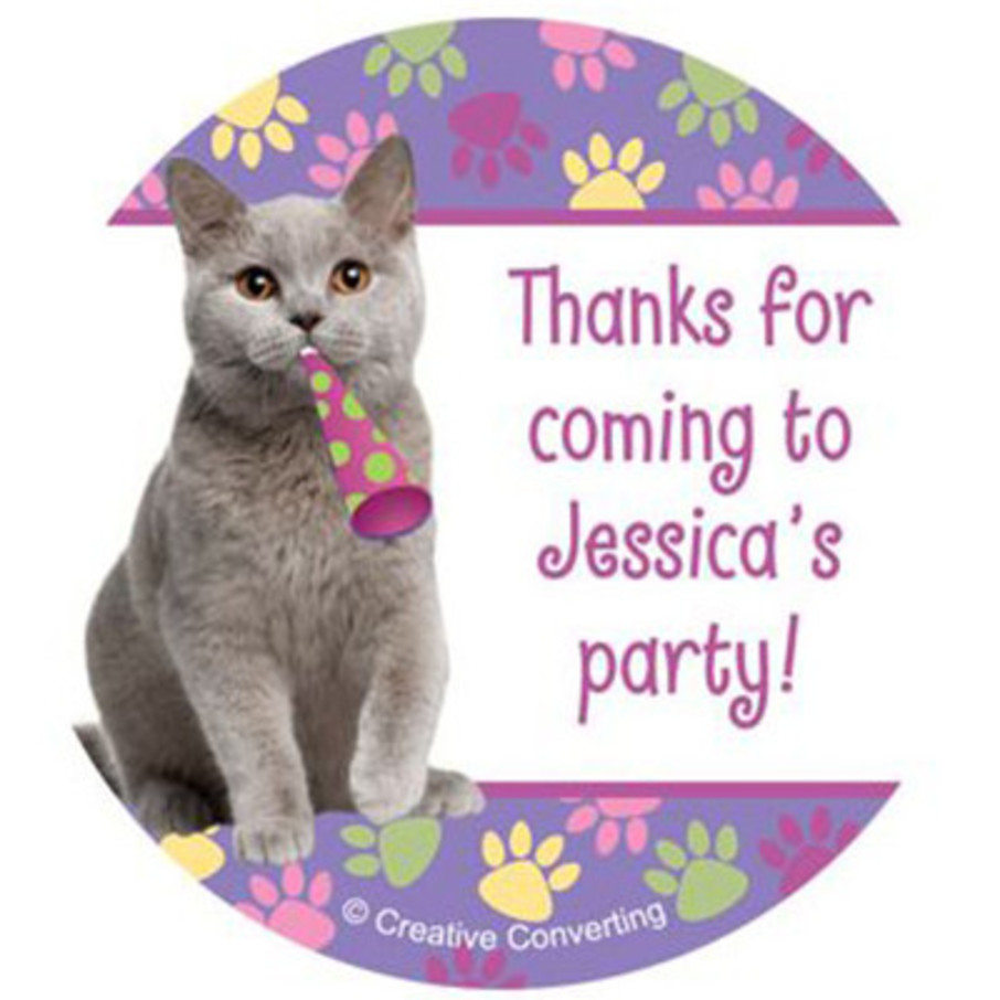 View larger image of Cat Party Personalized Stickers (sheet of 12)