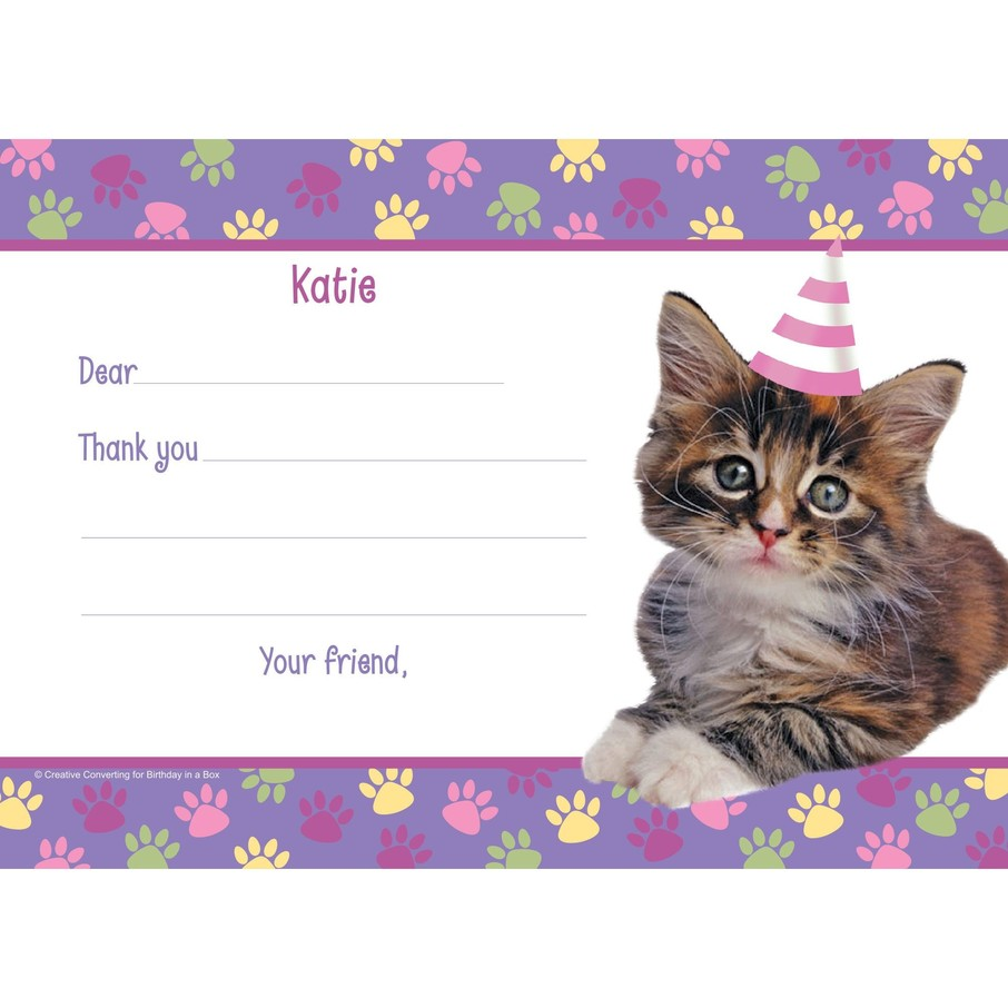 View larger image of Cat Party Personalized Thank You Note (each)