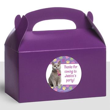 Cat Party Personalized Treat Favor Boxes (12 Count)