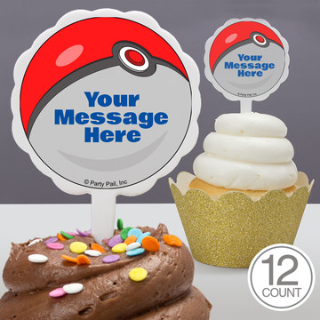Catch 'Em All Personalized Cupcake Picks (12 Count)