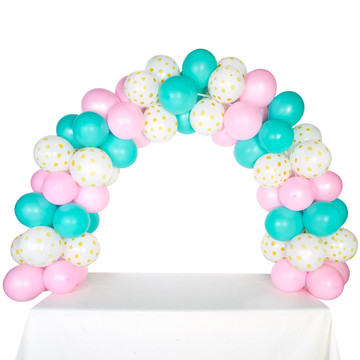 Celebration Tabletop Balloon Arch-Pink, Mint Green Gold with White Dots