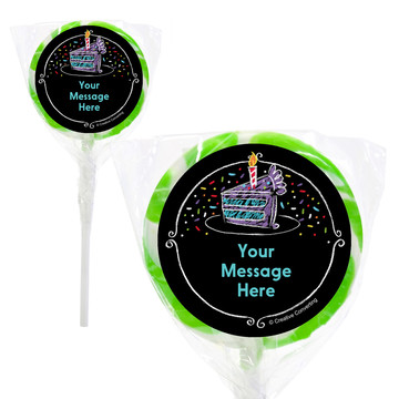 "Chalk Birthday Personalized 2"" Lollipops (20 Pack)"
