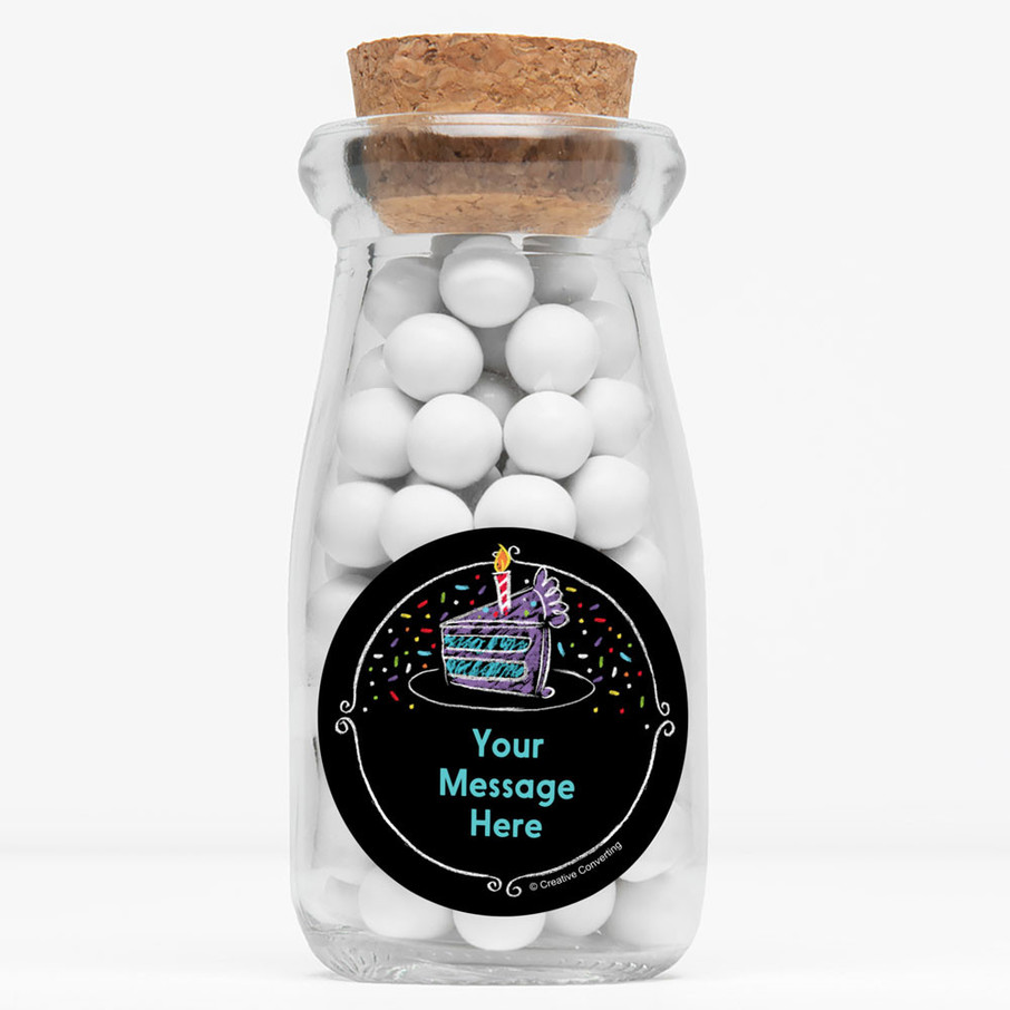 """View larger image of Chalk Birthday Personalized 4"""" Glass Milk Jars (Set of 12)"""