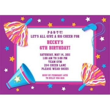 Cheerleader Personalized Invitation (each)