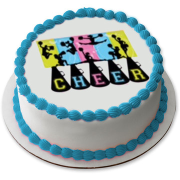 "Cheerleading 7.5"" Round Edible Cake Topper (Each)"