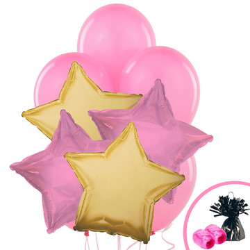 Gold & Pink Star Balloon Bouquet